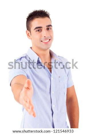 Young man offering handshake, isolated over a white background