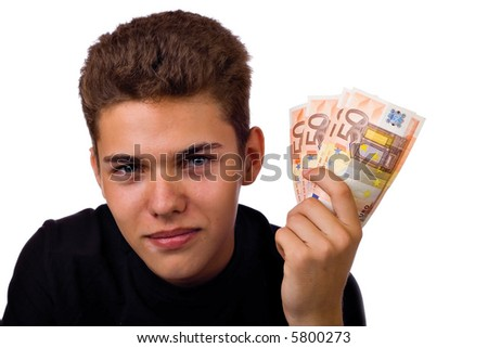 Young man offers Euro banknotes