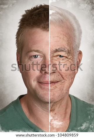 Young man old face life aging concept