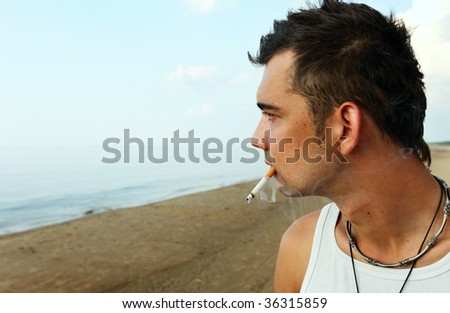 young man on a beach