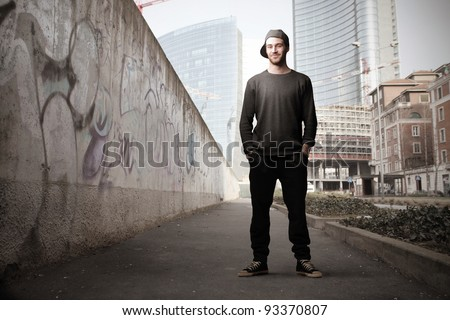 Young man on a city street