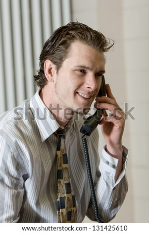 Young man on sales call