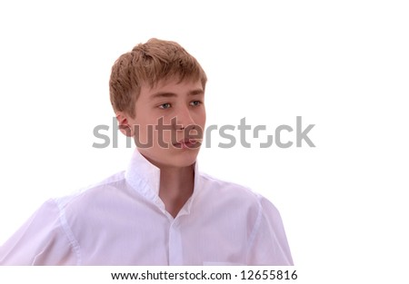 Young Man on white background.