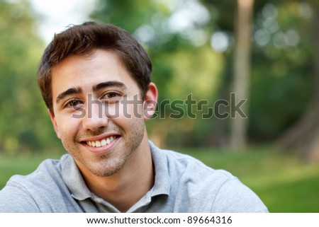 Young man outdoors portrait with copy space #89664316