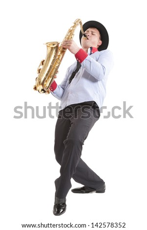 young man playing on saxophone isolated on white background
