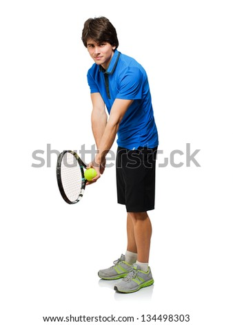 Young Man Playing Tennis Isolated On White Background