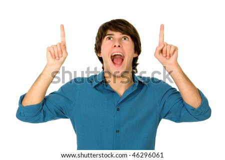 Young man pointing - stock photo