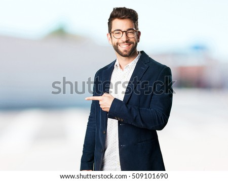young man pointing with finger #509101690
