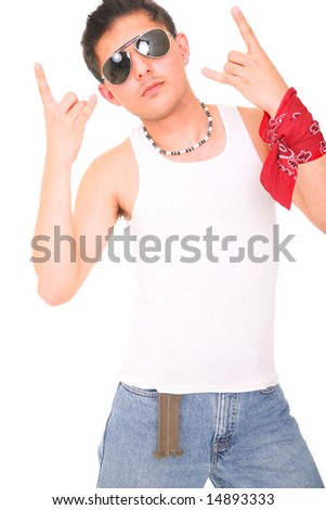 young man posing as rocker/punk showing metal sign with his hand. isolated on white background