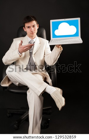 Young man presenting a cloud pltform with notebook