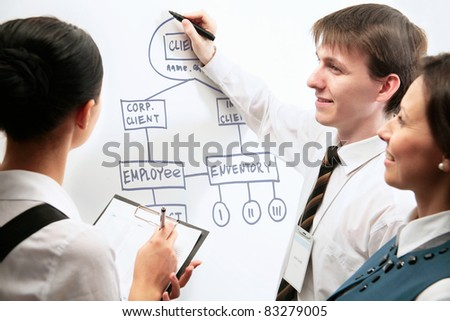 Young man presenting his ideas on whiteboard to colleagues - stock photo
