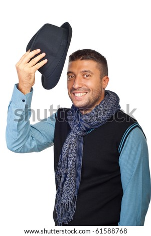Young man raising his hat  in respect and admiration for someone isolated on white background