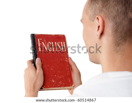 young man reading an English book. Rear view