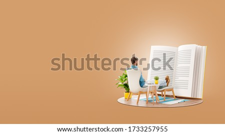 Young man reads a book sitting on an armchair at home. Reading and education concept. Unusual 3d illustration