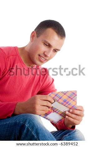 young man receiving love letter isolated on white background - stock photo