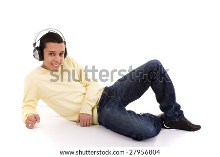 young man relaxing at the sound of good music