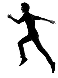 young man  running silhouette in studio isolated on white background