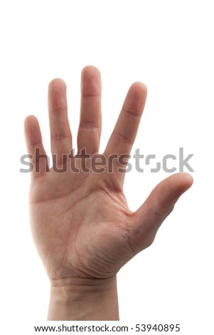 young man's hand with a white business shirt sleeve - isolated on white