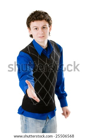 Young man saying welcome - stock photo
