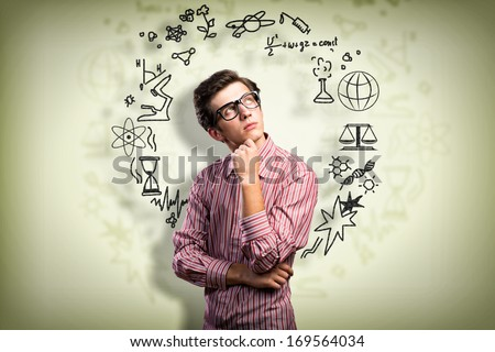 young man scientist in glasses...