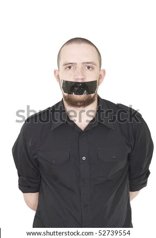 Young man scotch-tape on his mouth - stock photo