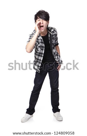 young man screaming in full length isolated on white background, asian model