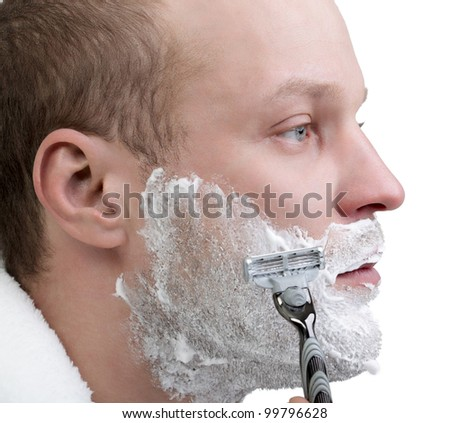 young man shave isolate on white