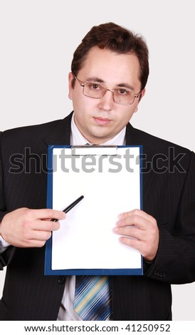 Young man show clean sheet of the clipboard