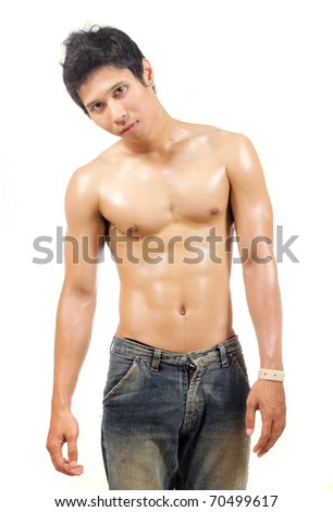 young man showing his body muscle