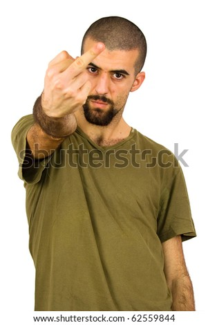 young man showing his middle finger