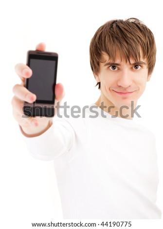 Young man showing mobile phone. Focus on the face
