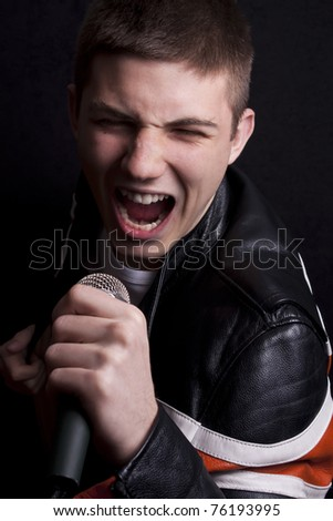 Young man singing some song