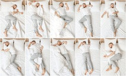 Young man sleeping in different positions in bed