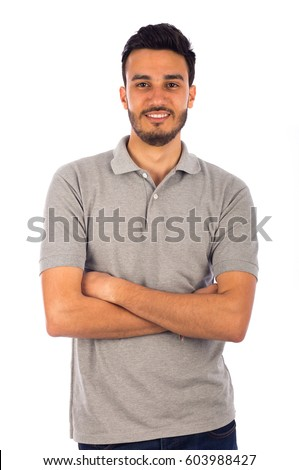 Young man smiling, isolated on white background