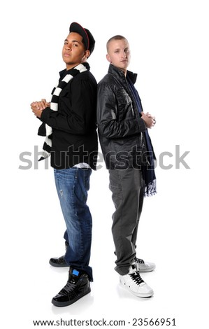 Young man standing back to back isolated over a white background