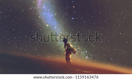 young man standing on desert and looking up into the night sky with stars and milky way, digital art style, illustration painting