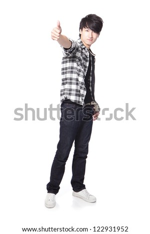 young man student show thumb up in full body isolated on white background, asian model