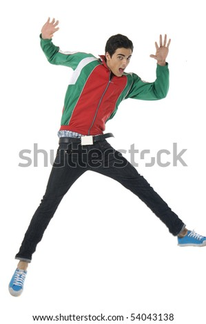 young man style jumping posing