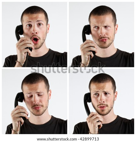 young man talking at the telephone series