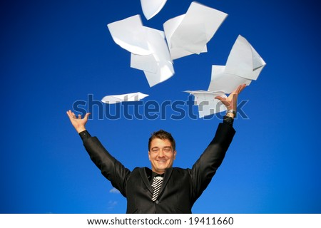 Young man throws away his documents.