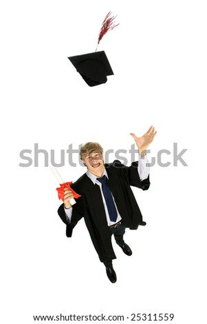Young man tossing up his hat on Graduation Day