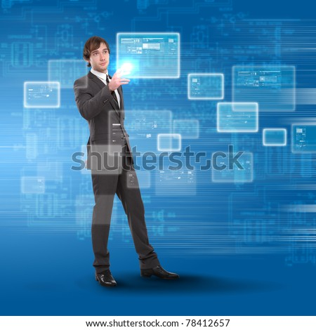 young man touches a virtual surface. Illustration