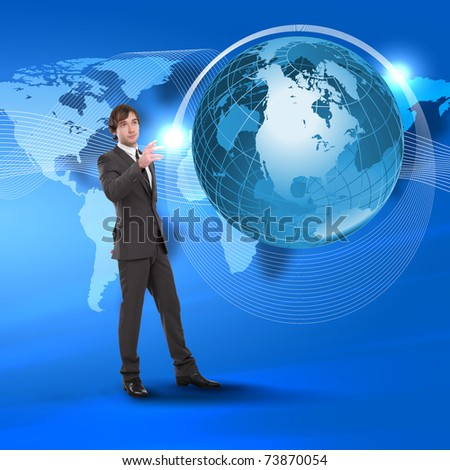 Young man touching a virtual surface. A symbol of high technology. Collage.