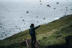 Young man tourist standing between puffins on the island of Mykines, Faroe islands with view todards the atlantic ocean.