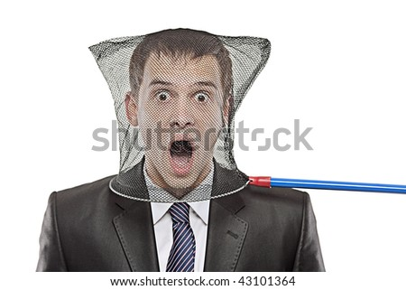 Young man trapped in a butterfly net isolated on white background