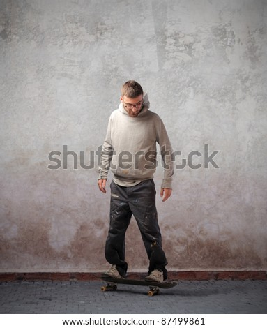 Young man using a skateboard