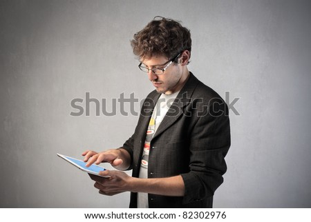 Young man using a tablet pc