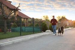 Young man walking his Caucasian Shepherd dog outdoors