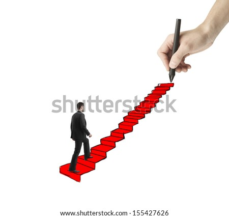 young man walking on drawing ladder with red carpet
