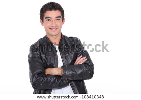 young man wearing a leather jacket